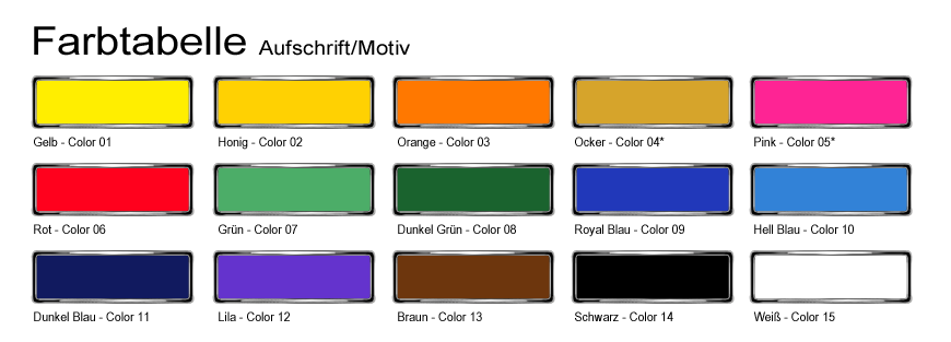 Farbtabelle Druckfarben