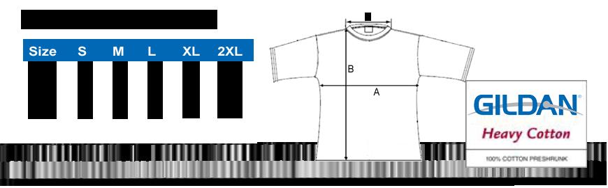 Größentabelle Gildan T-Shirt Frauen