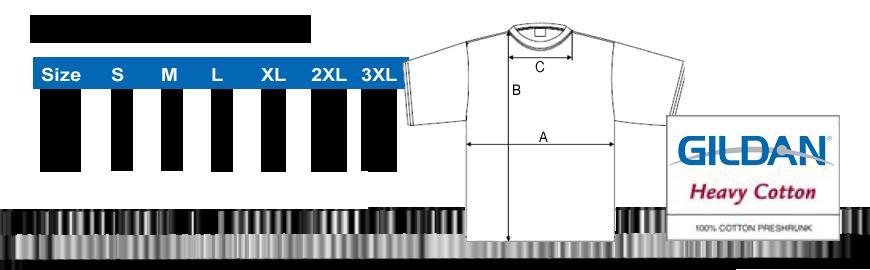 Größentabelle Gildan T-Shirt Männer